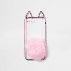 Coque pour téléphone rose métallisé avec oreilles de chat et pompon