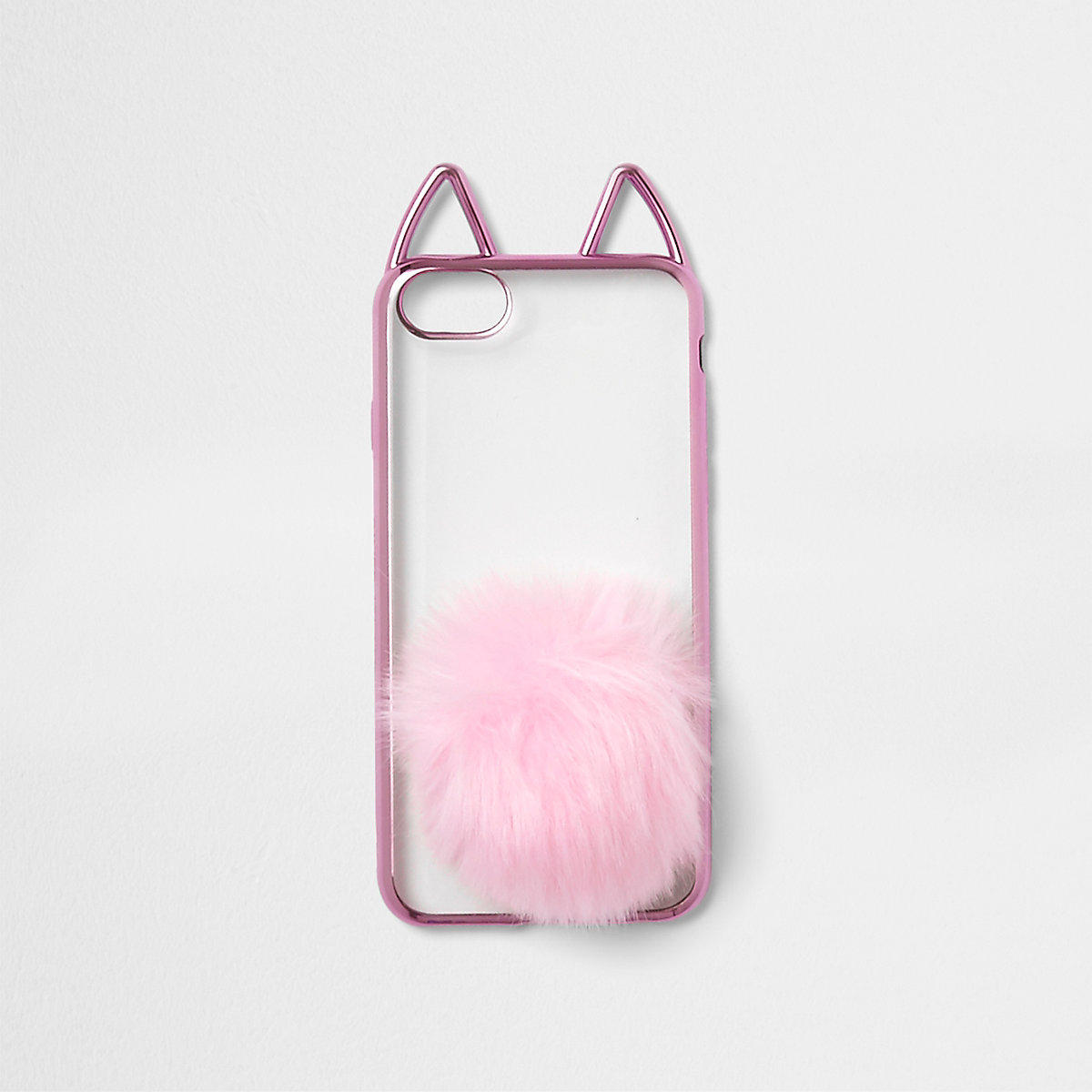 Pink metallic cat ears pom pom phone case