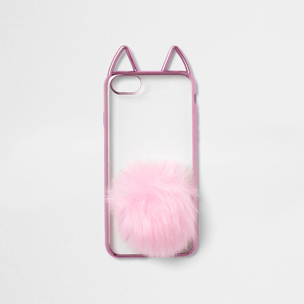 Pink metallic cat ears pom pom phone case