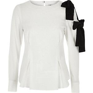 Cream mono bow shoulder blouse