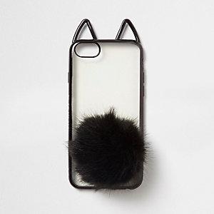 Coque pour téléphone noire avec oreilles de chat et pompon
