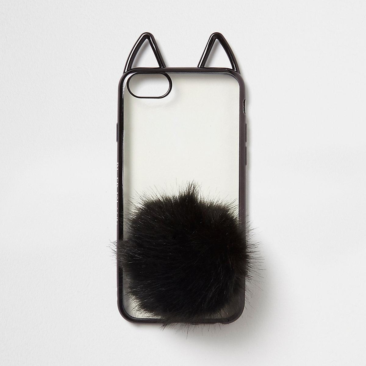 Black cat ears pom pom phone case