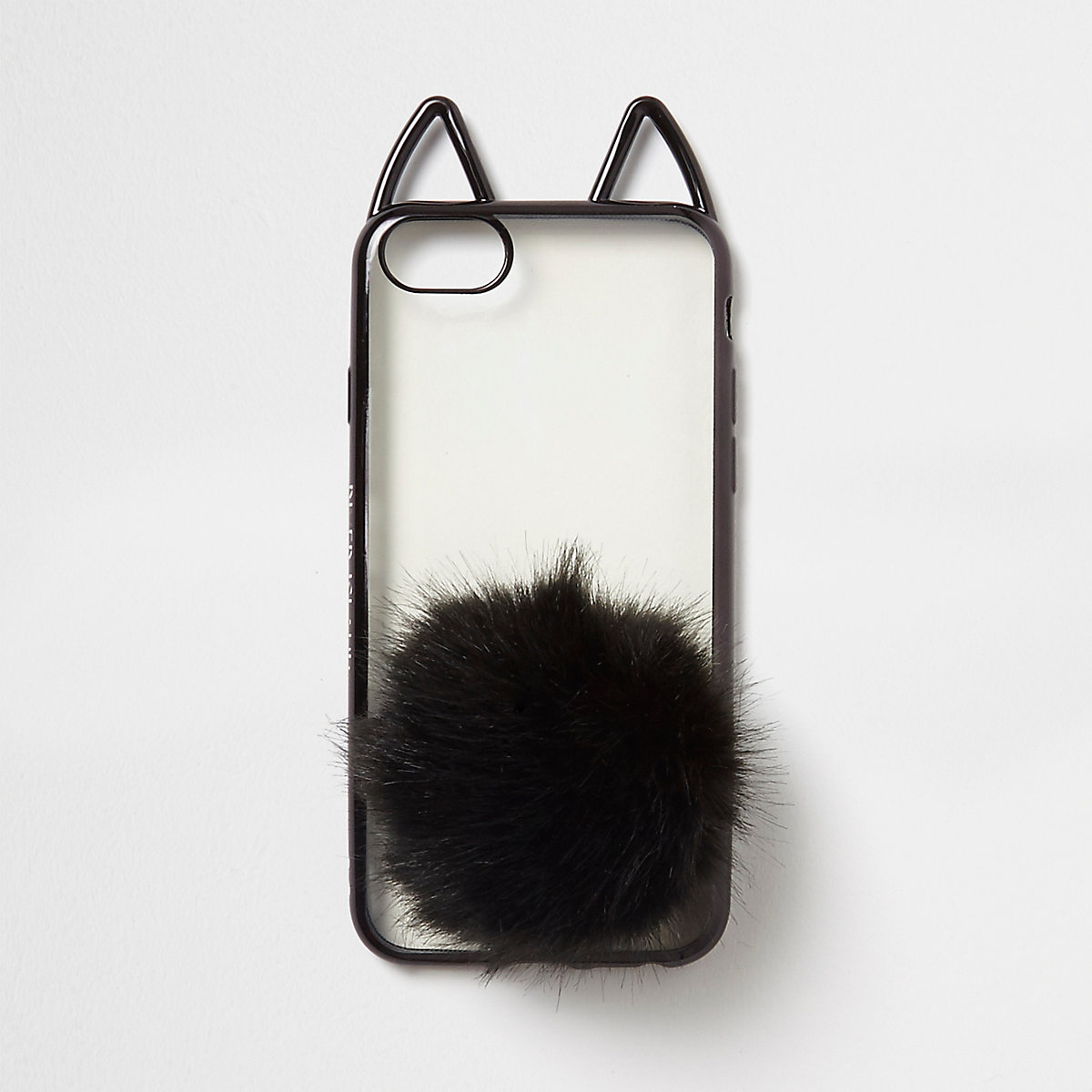 Black cat ears pom pom phone case
