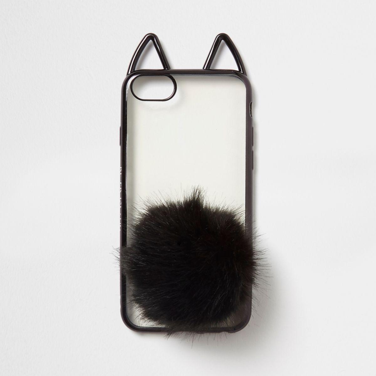 Zwarte telefoonhoes met kattenoren en pompons