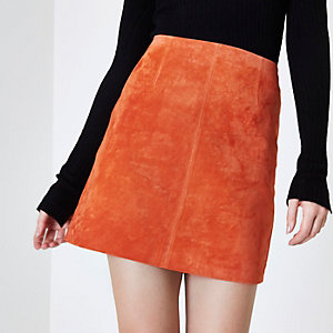 Red suede A-line mini skirt