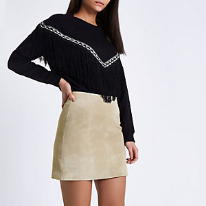Sand brown suede A line skirt