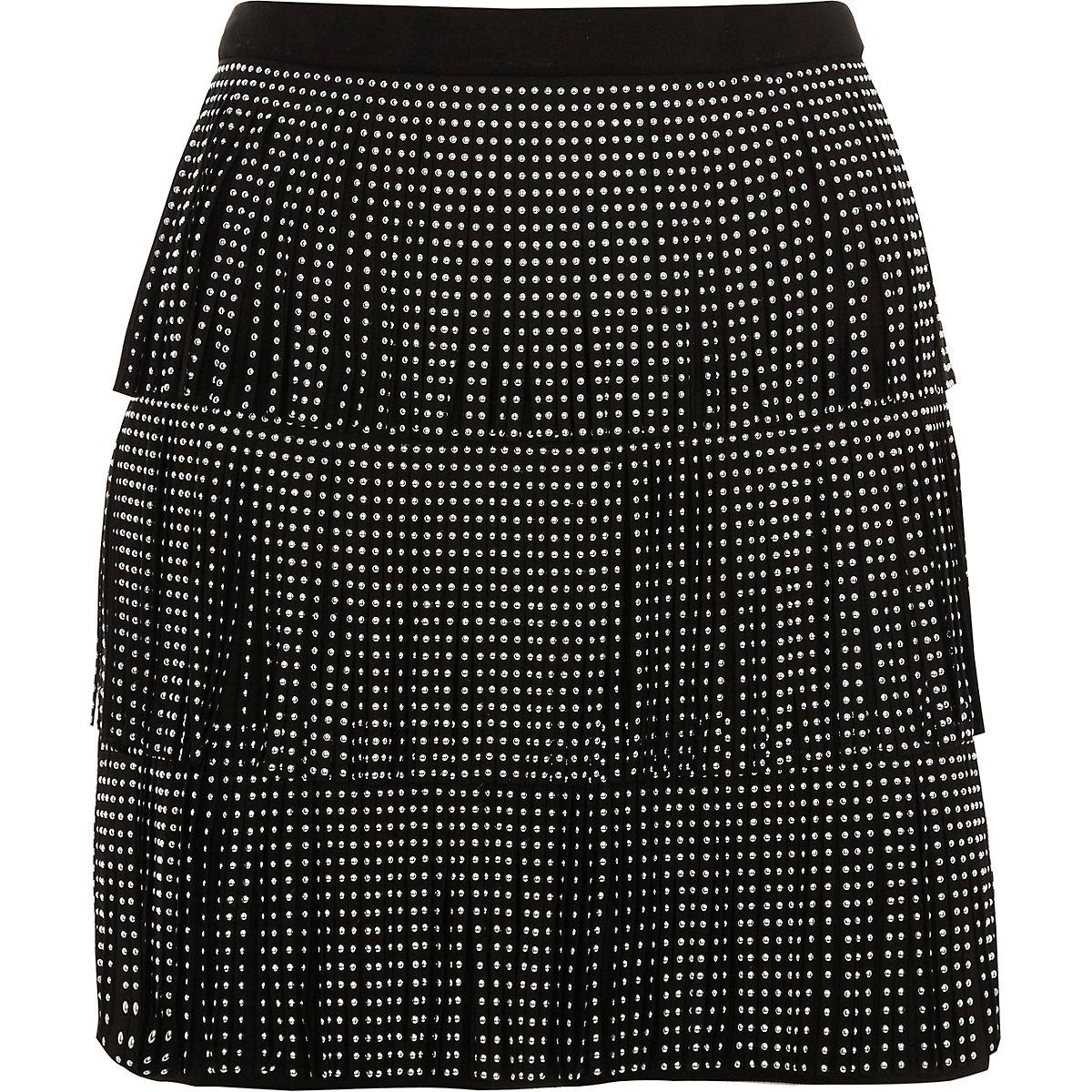 Black studded fringe faux suede mini skirt