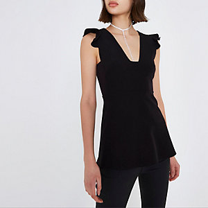 Black plunge neck frill shoulder top