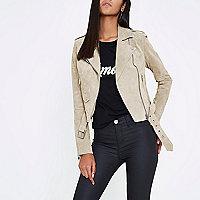 Stone suede biker jacket