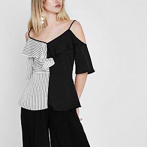 Black block stripe frill cold shoulder top
