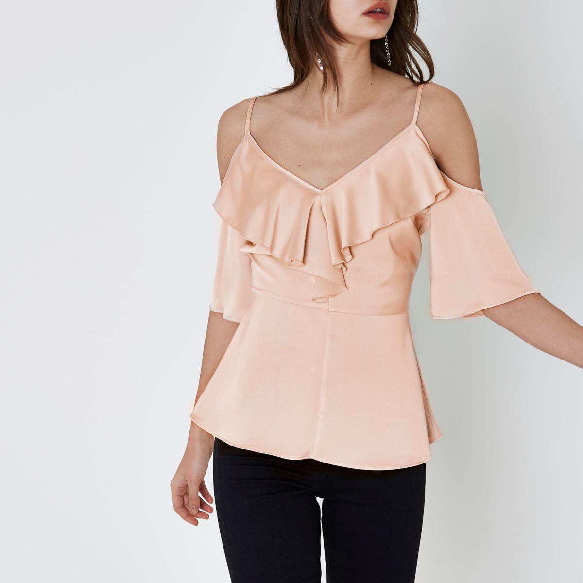 Light pink frill cold shoulder top