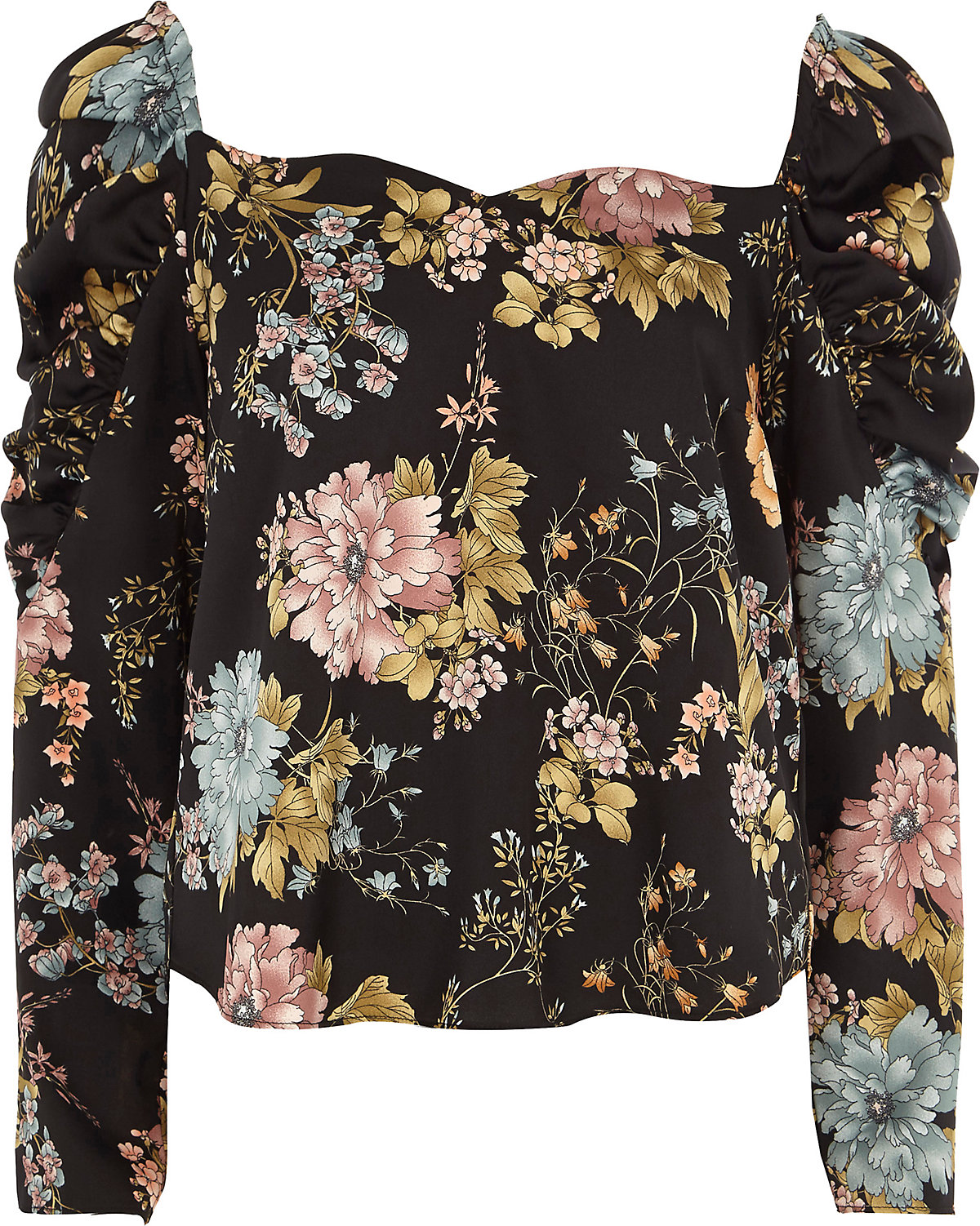 Black floral ruched sleeve sweetheart top
