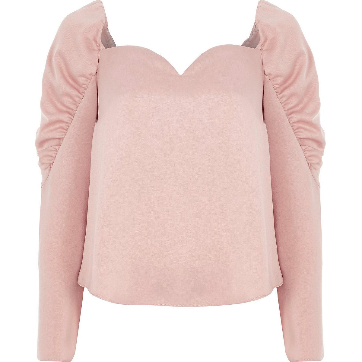 Light pink satin sweetheart puff sleeve top