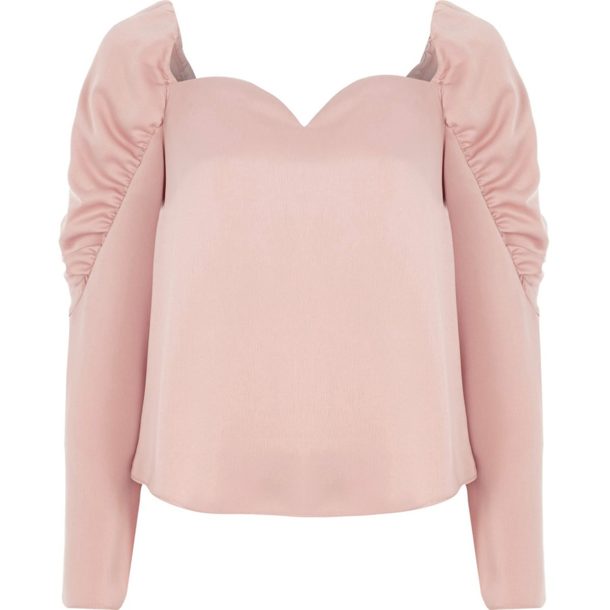 Light pink satin sweetheart puff sleeve top