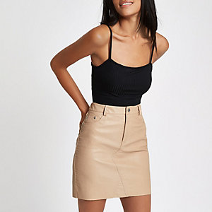 Beige faux leather mini skirt