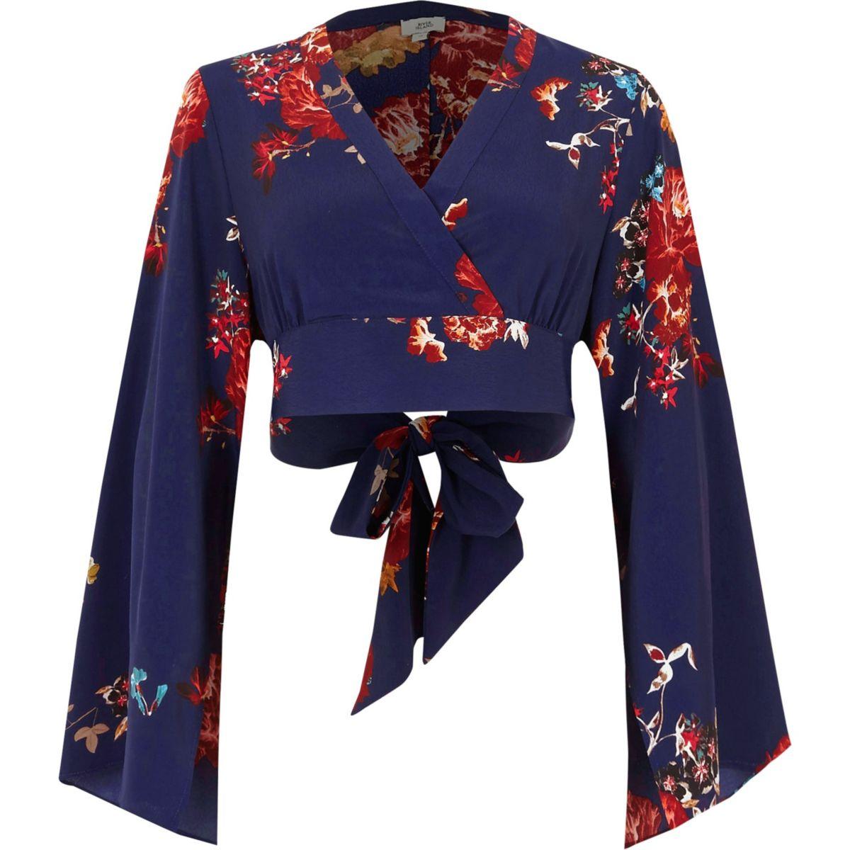 Purple floral wrap front cropped blouse