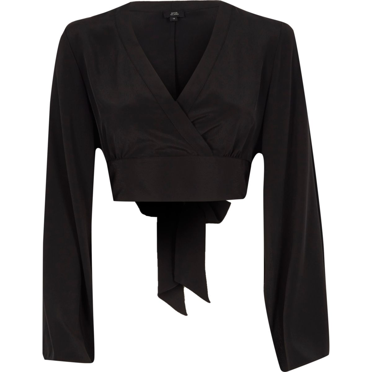 Black kimono sleeve wrap crop top
