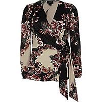 Black floral print wrap front blouse