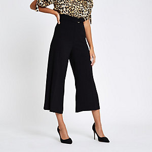 Black D ring waist culottes