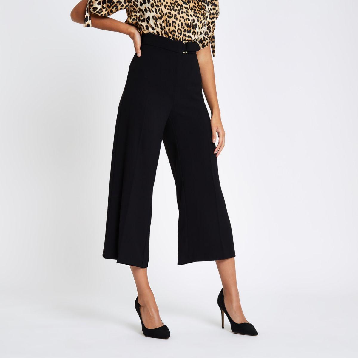 Black D ring waist culottes