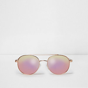 Gold tone pink mirror aviator sunglasses
