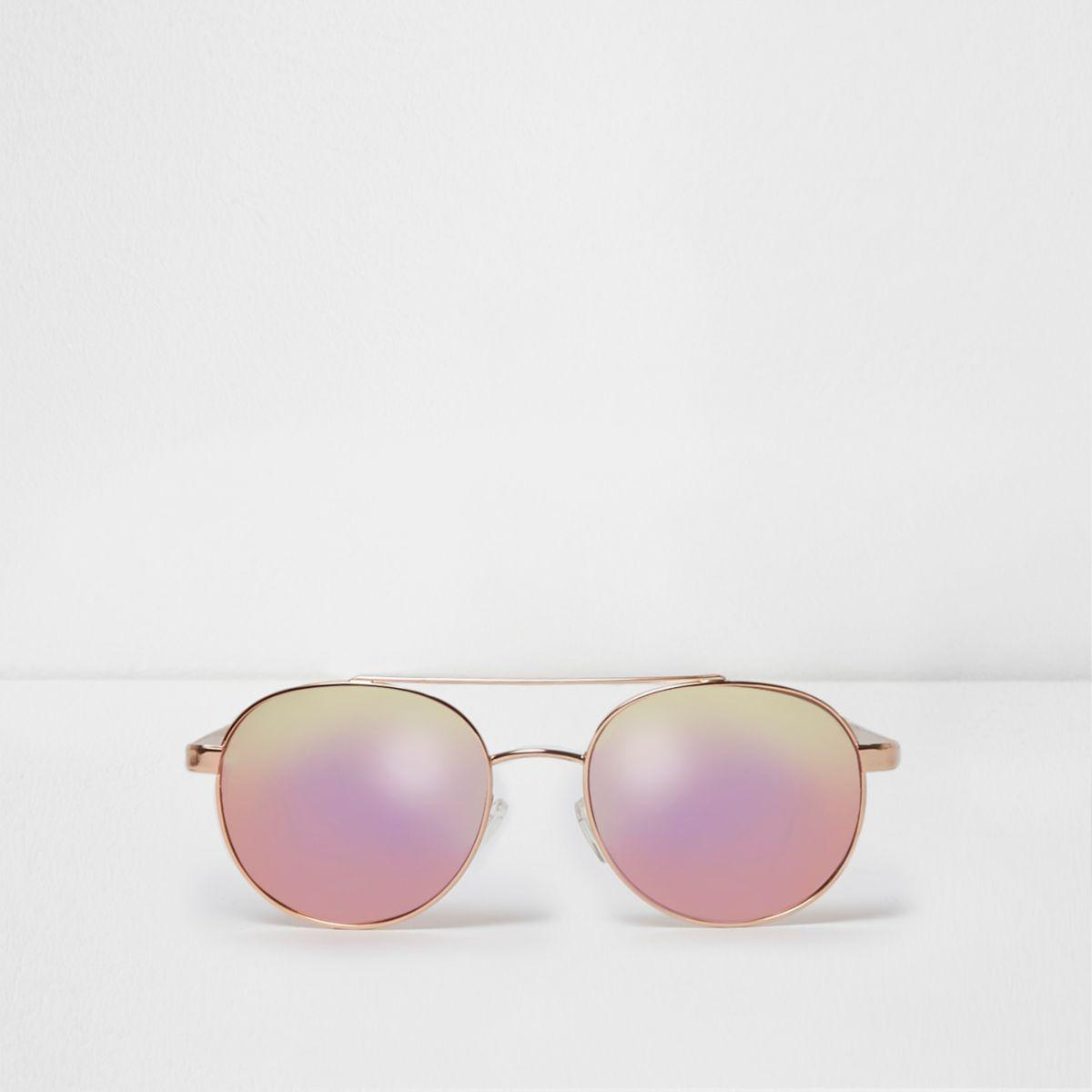 Goudkleurige pilotenzonnebril met roze spiegelglazen
