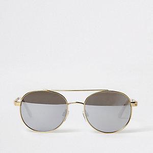 Pilotenzonnebril met goudkleurig rond frame
