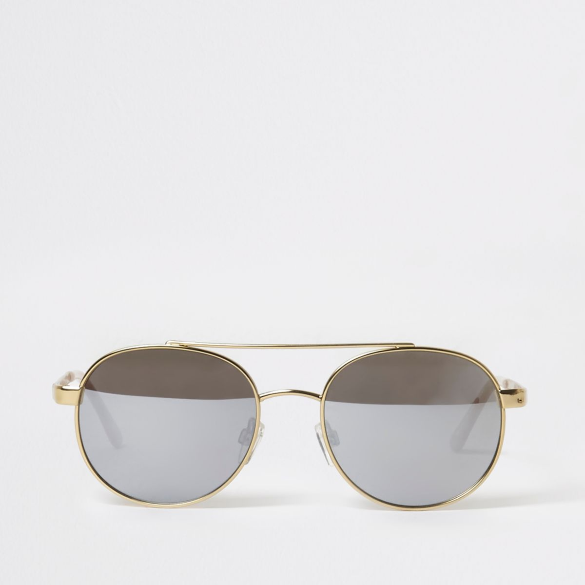Gold tone round frame aviator sunglasses