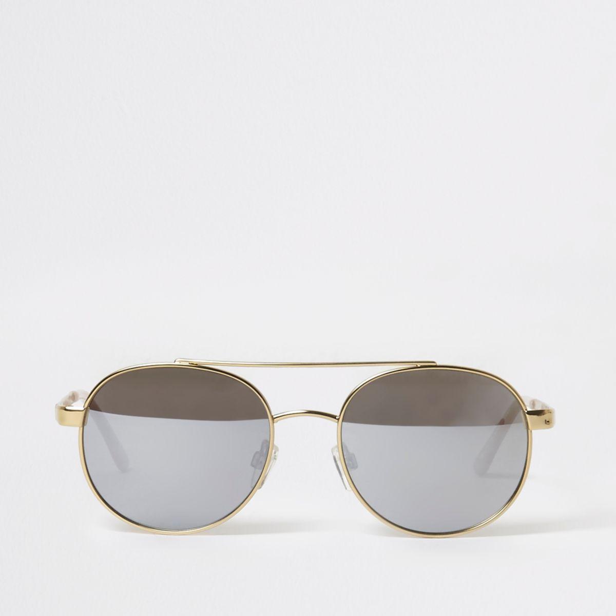 Gold tone round frame aviator sunglasses