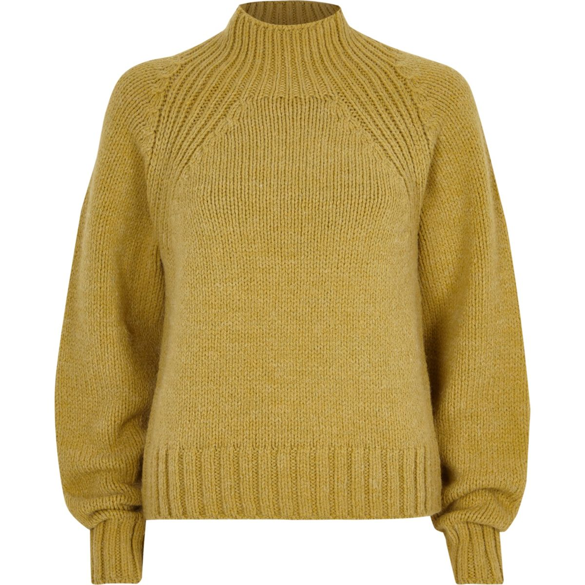Lime green high neck chunky knit jumper