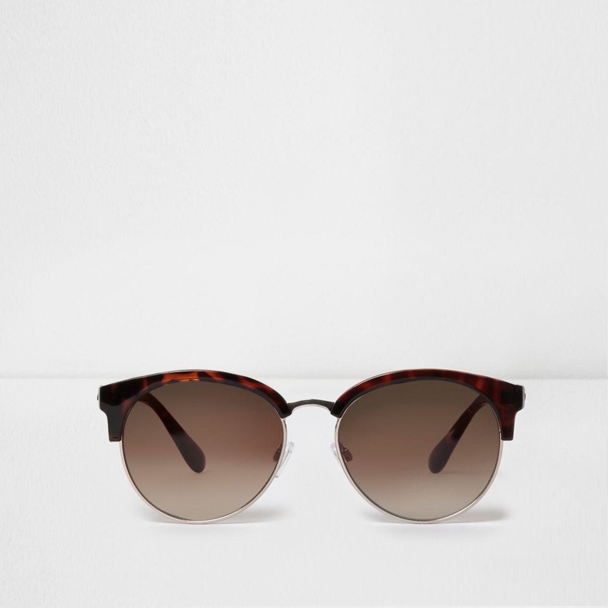 Brown tortoiseshell tinted retro sunglasses