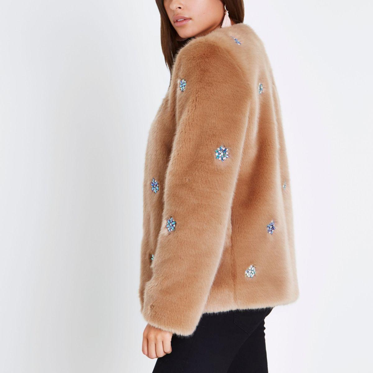 Nude floral gem embellished faux fur jacket