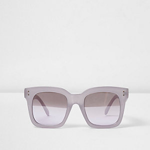 Lila oversized zonnebril met vierkant montuur