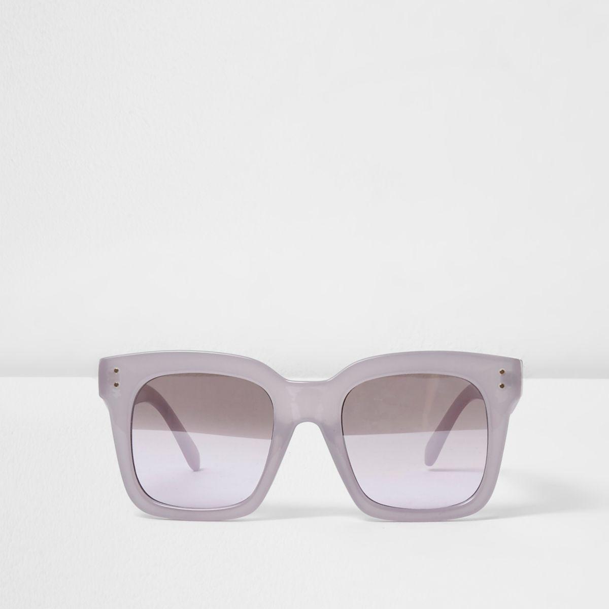 Lilac square frame oversized sunglasses