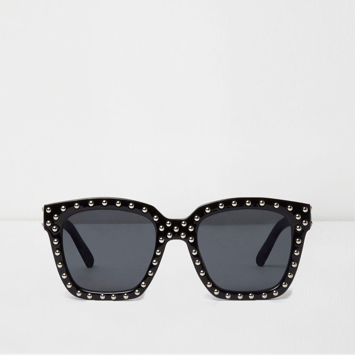 Zwarte glamoureuze zonnebril met studs