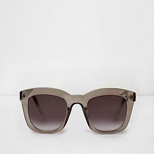 Donkergrijze oversized glamour zonnebril met grijze glazen