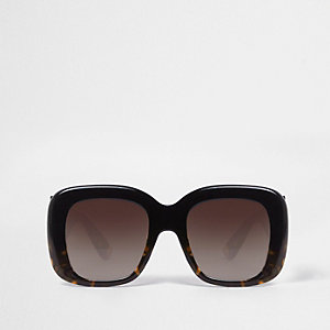 Black tortoiseshell square sunglasses
