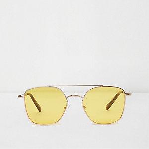 Lunettes de soleil aviateur à verres jaunes