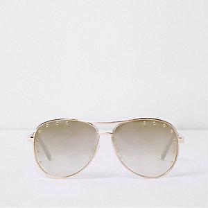 Gold tone studded aviator sunglasses