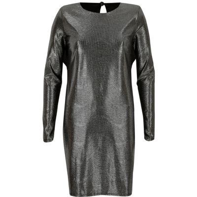 River Island Zwarte jurk met schoudervulling en metallic strepen