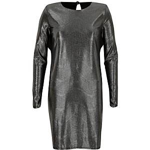 Black metallic stripe shoulder pad dress