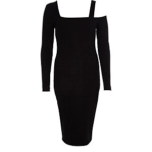 Black one shoulder long sleeve bodycon dress