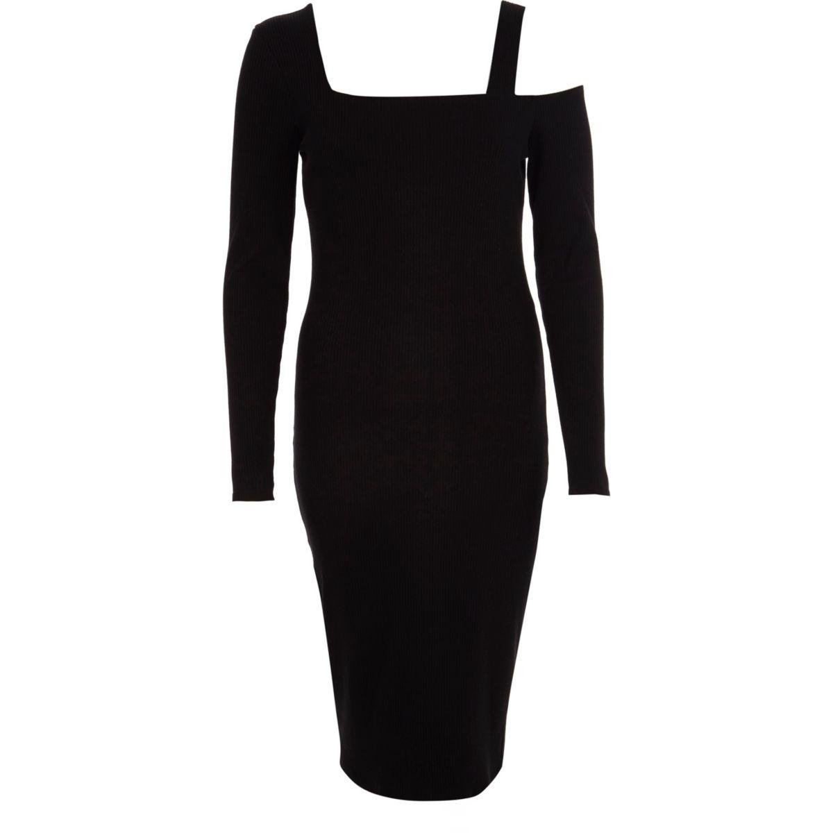 Black one shoulder long sleeve bodycon dress