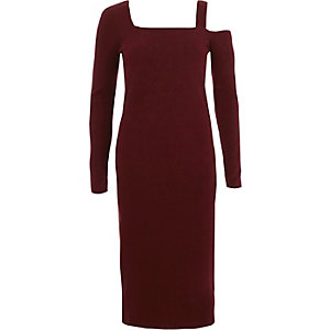 Burgundy ribbed square neck bodycon dress