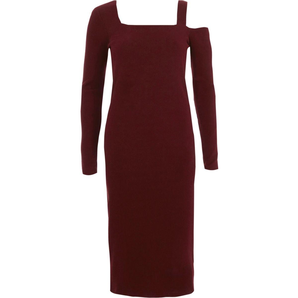 Burgundy ribbed square neck bodycon dress
