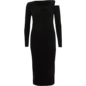 Black ribbed cut out asymmetric bodycon dress