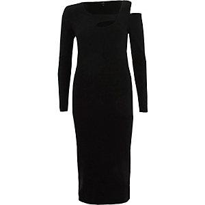 Black ribbed cut out asymmetric bodycon dress