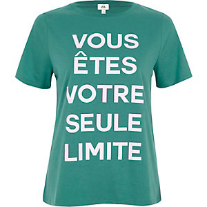 Green 'vous etes' print fitted T-shirt