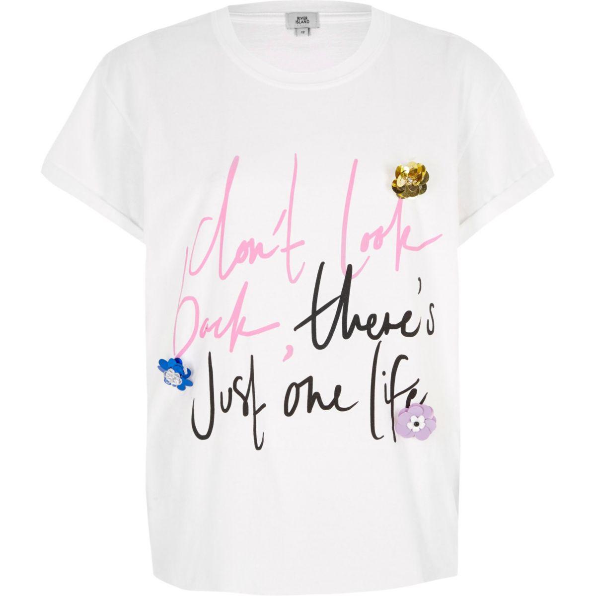 White 'don't look back' 3D flower T-shirt