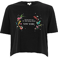 Black 'never let go' cropped T-shirt